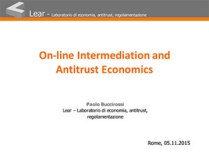 On line Intermediation and Antitrust Economics